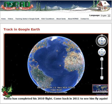 NORAD Tracks Santa - Google Earth - End of Journey