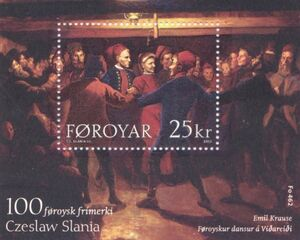 Faroe stamp 462 the 100th faroese stamp by slania - stamp sheet