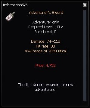 Basic Adventurer's Sword stat