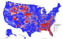 United States presidential election results by county margin, 2016 (Ferguson Scenario)