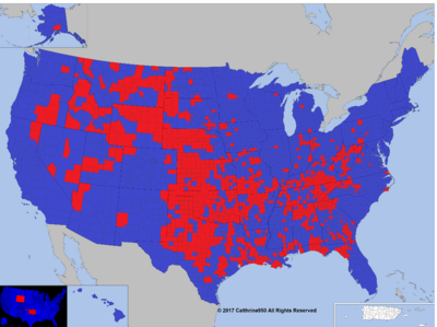 Map of the 2016 Election by County, Large Version