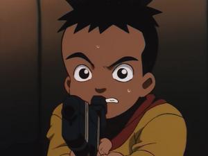 Boo shaking as he's holding a gun