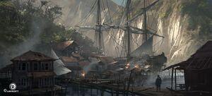 Assassinscreedivblackflag environment shanty port by martin deschambault additions 02