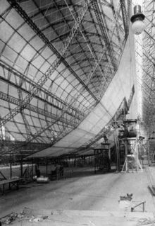Airship under construction in the 'Pipollo Works' in Tronda