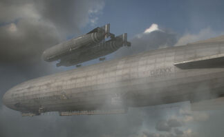 A small dual-hulled attack airship resupplies from a much larger support airship.