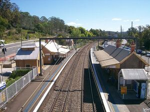 Ourimbah railway station view from footbridge
