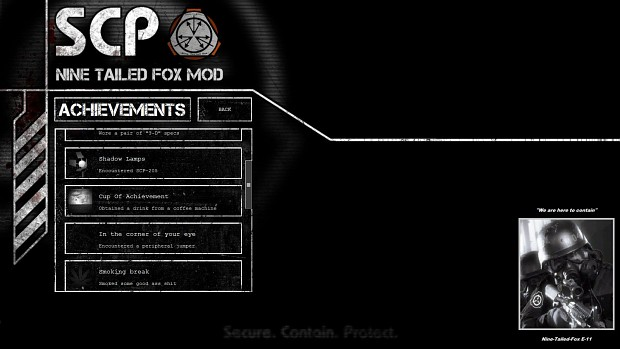 Achievements | SCP: Containment Breach Nine Tailed Fox Mod Wiki