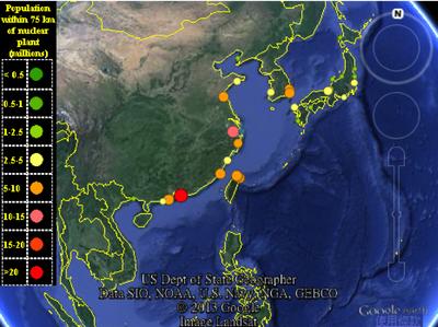 核電廠鄰近75公里人口分布圖
