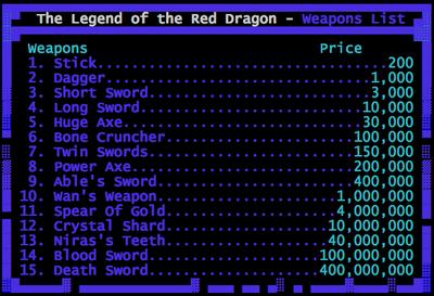 King Arthurs Weapon List