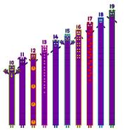 Numberblocks to 100 according to the numberjacks (Part 2, 10-19)