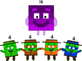 Numberblock 16 turns into a barbershop quartet (Square version)