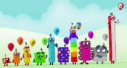 Numberblocks holding Numberballoons