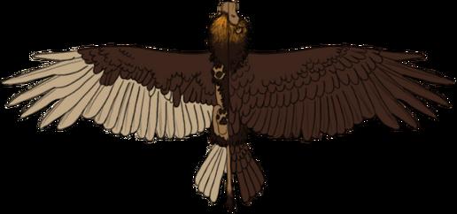 En referensbild av Azazel med utfällda vingar sedd ovan och underifrån för att visa färgerna.