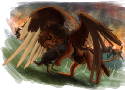 Azazel slåss mot Mivria i kriget mellan Qu och Devils. Vargar slåss med eld i bakgrunden och istappar täcker marken.