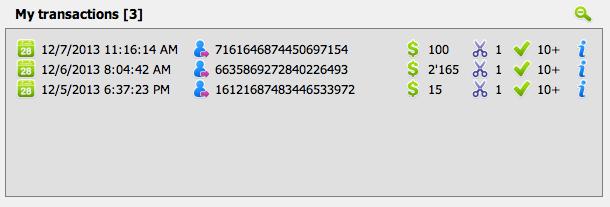 GUI transactionsblock mytransactions