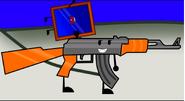 Gun using mirror