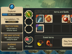 Game menu (left part)