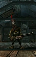 Meagly McGraw holding his shotgun