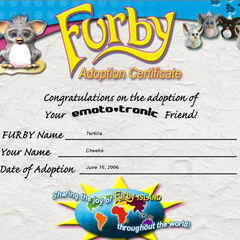 A Furby adoption certificate which could be printed from the official Furby website. This certificate was filled in by a PhotoBucket user.