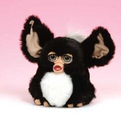 a black and white French 2005 Furby prototype