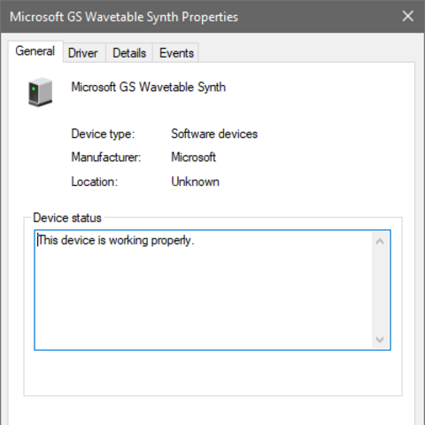 MSGSWS in Device Manager