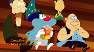 Oggy is Eating a Popcorn is Sitting Down