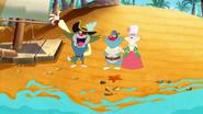 Pirate Jack are Waving, Pirate Oggy and Princess Olivia are Hug