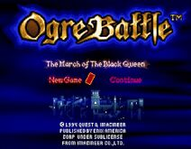 Ogre Battle The March of The Black Queen title (SNES)