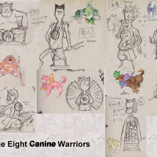 The early concept art of the Canine Warrior as humans.