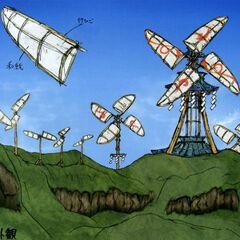 Concept art of the Kusa Village windmills.
