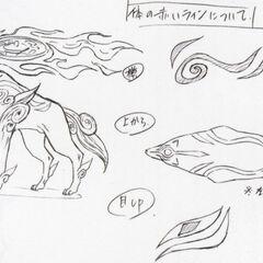 Design sketches of Amaterasu's final design.