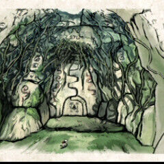 Concept art of the entrance to the Tsuta Ruins located in the forest.