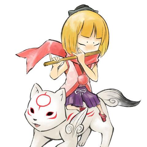 Kurow riding Chibiterasu.