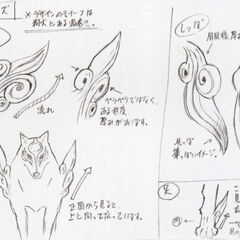 Design sketches of Amaterasu's features.
