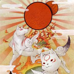 Chibitersau and Amaterasu.