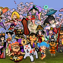 The character cast of <i>Ōkamiden</i> in the credits.