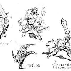 Design sketches of Chibiterasu and Kuni.