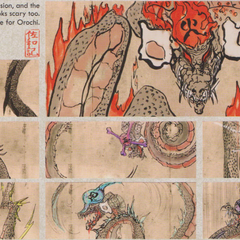 Concept art for each Orochi's heads in the <i><a href=