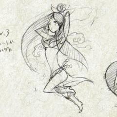 Early design sketches of Sakuya.