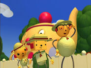 Percy Polie's cucumber costume, Olie Polie and Billy Bevel
