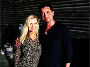 OHF- Katrin Benedickt with Gerard Butler on-set with make-up on