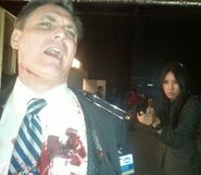 OHF stunt actor Eddie Matthews on-set with Malana Lea