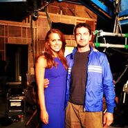 OHF- Michelle Celeste on-set with Gerard Butler