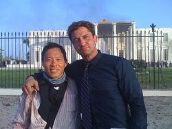 OHF- William Leong with Gerard Butler as a stunt commando