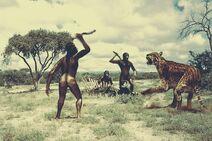 Australopithecus and cat