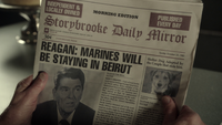 2x17 Storybrooke Daily Mirror page une première édition du matin dimanche 23 octobre 1983 Président Donald Reagan Marines Will Be Staying In Beirut