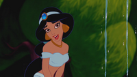 Aladdin (Disney) 1992 Princesse Jasmine jardins palais fontaine sourire amusement