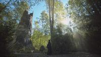 7x06 vue ruines tour de la Sorcière Gothel Raiponce détruite Javotte Regina Mills dos découverte nouvelle forêt enchantée bois soleil