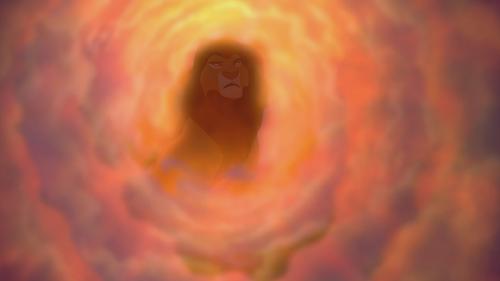 Le Roi Lion Mufasa apparition esprit fantôme ciel nuages lumière Il Vit en Toi