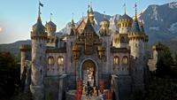 5x01 château Camelot arrivée entrée groupe héros
